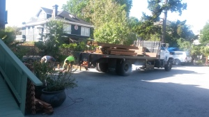 Its scary when a big 'ol truck has to maneuver around our little parking lot!